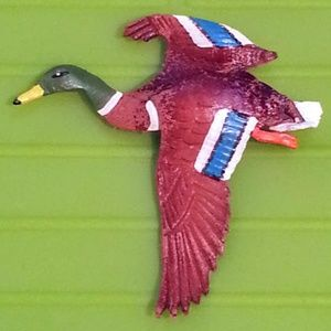 Vintage Hand Tooled Leather Mallard Duck Pin 2""